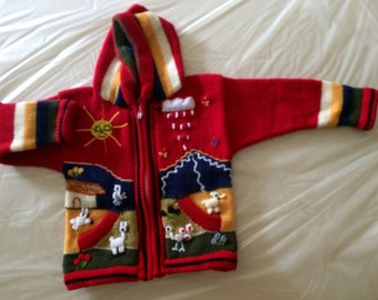 Beautiful Wool children's zippered sweaters from Chile