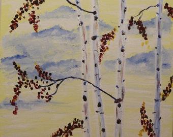 "Original Oil Painting ""White Bark Tree Brich"""