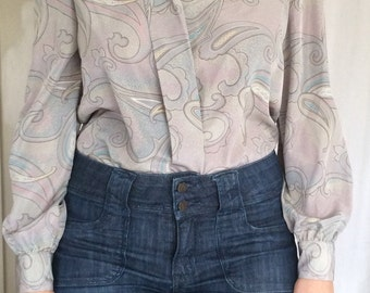 Vintage 70s Polyester lilac taupe paisley print button up -size 8-