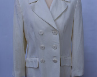 Vintage Harrods Double Breasted Ladies Blazer Size 12 Jacket Retro Made In England