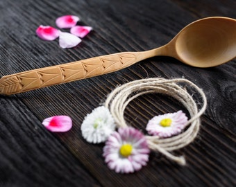 Decorative wood spoon Rustic design Ethnic ornament Hand carved spoon Gift for her Wooden decorative spoon Carved spoon Gift Unic spoon