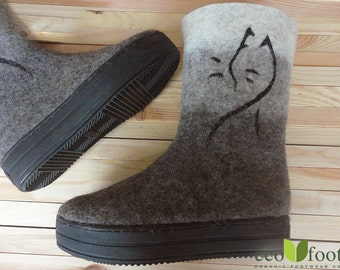 Felted wool boots Winter felt shoes natural grey Felted shoes Women's felted boots Valenki ecofriendly organic sheep wool Winter Women shoes