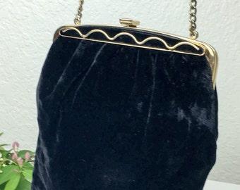 60's Velvet Art Deco Revival Handbag