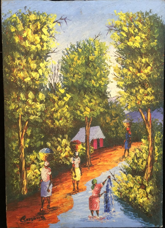 Haitian Village Painting Signed in the style of Ludovic J.