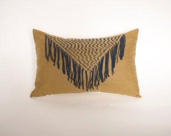 Blue Yarn on Mustard Linen Tassel Cushion