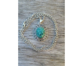Chrysocolla silver layering necklace