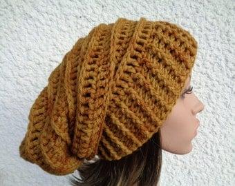Large hand painted crochet dread beanie, beanie, slouchy beanie, crochet hat, rasta hat, winter hat, ocre, sand, 60cm, 24 inch