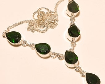 Faceted Green Peridot quartz pretty .925 sterling silver Necklace