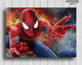 Spiderman poster marvel painting superhero prints spiderman decor marvel art