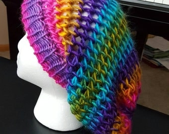 Fun and funky rainbow slouchy hat