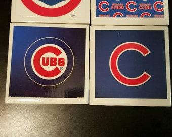 Handmade baseball themed tile coasters