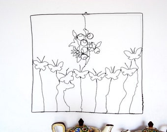 Wire Sculpture Bouquet Flowers And Butterflies Handmade in Black Iron Wall Hanging Art.