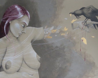 """Drawing/Painting, Girl with Raven, """"Laotong"""", 20x30"""""""