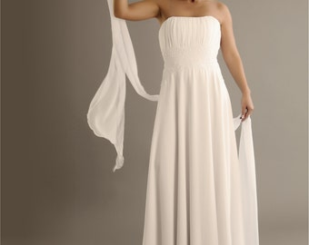 White chiffon beach wedding dress with lace detail