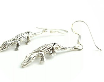 Vintage Articulated Alligator Sterling Silver Dangle Earrings