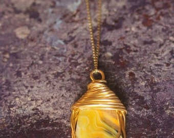 Yellow Agate Pendant Necklace