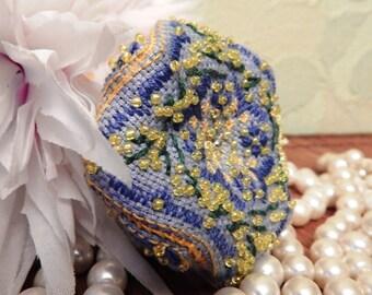 Pincushion Blue and yellow flower embroidery floss biscornu Pin cushion Biskornyu Mimosa