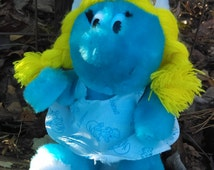 1981 Smurf doll/vinage doll/Smurfette doll/ 9''sitting/Gift for her/Gift for birthday/Gift for a basket/collectors/Girl's room decor