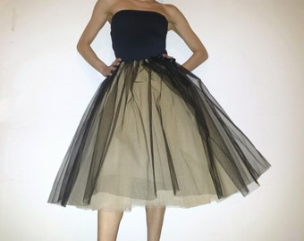Tulle skirt petticoat champagne black 70 cmRocklänge