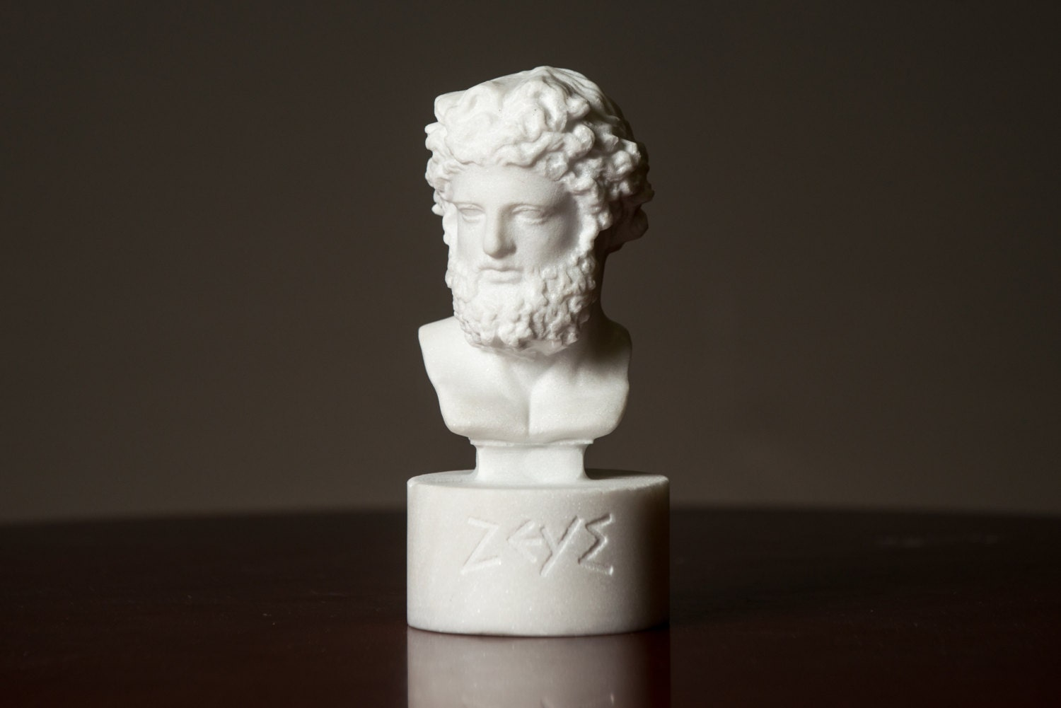Bust Of Olympian God Zeus Carved Greek Marble Statue Figurine
