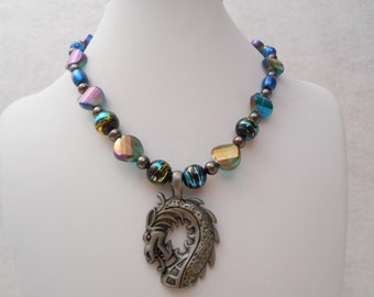 blue iridescent crystal dragon necklace