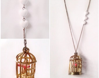 Gold Pink Bird In Birdcage Necklace