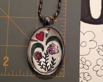 Handmade Pendant, Freehand Drawing Pendant, Handmade Jewelry, Necklaces, Hand Drawn Flower Pendant
