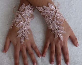 Wedding Gloves,Pink Lace Gloves , Bridal glove,Fingerless,Pink Pearl Processing, LaceGloves, Fingerless Gloves