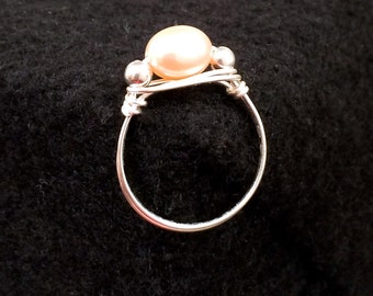Wire Wrapped Fresh Water Pearl Ring