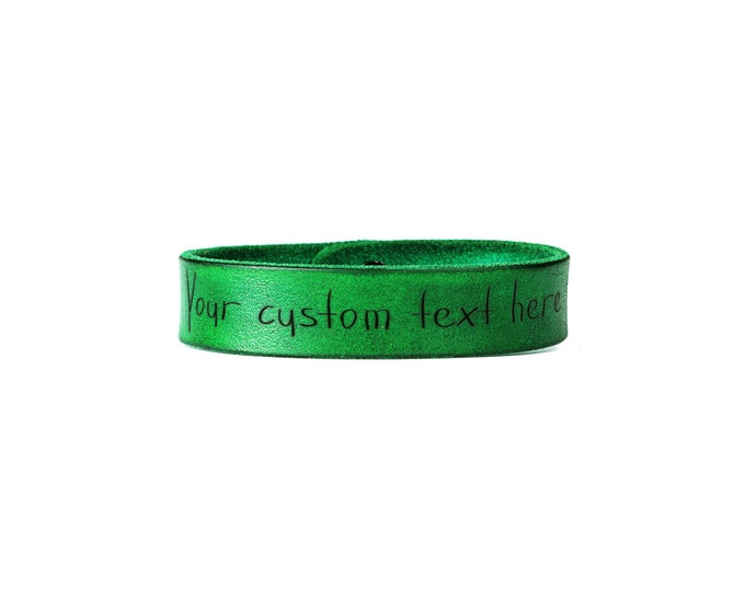 Leather bracelet - green leather band - engraved wristband - engraved leather strap - leather wrap - personalized band - custom wristband