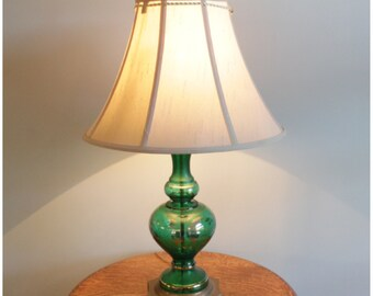 A3080 Vintage 1950's-1960's Midcentury Green Glass Table Lamp with Cloth Shade