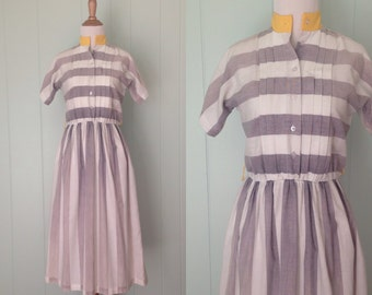 1970s Vicky Vaughn Junior Dress | 70s Grey and White Striped Dress | Vintage Day Dress