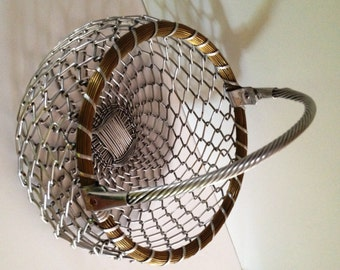 Handmade Silver Color Metal Woven Potbelly Basket with Brass Rope Accents