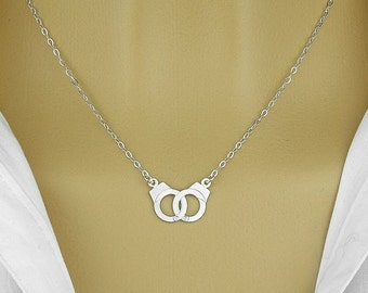 Handcuffs pendant necklace ,sterling silver 925
