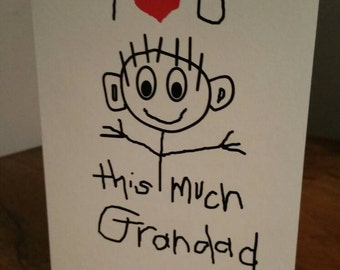 Birthday Greeting Card - 'I Love You This Much Grandad' - Father's Day - hand drawn style - blank inside - hand written style - cream card
