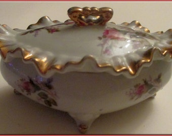 Moss Rose Trinket Box--Made in Japan-Vintage Ceramic
