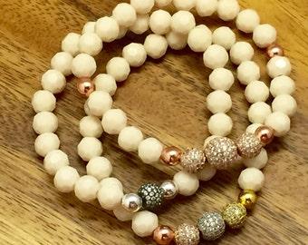 White and Ivory Cluster Bracelet, Chunky Bracelet, Bridal Jewelry, Cream Bracelet,White Ivory Cream Champagne,Weddings Brides Handmade Gift