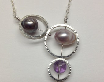 Sterling silver necklace with amethyst and freshwater pearls
