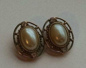 Gold and Pearl Vintage Clip Earrings