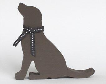 Wooden Chocolate Labrador Ornament, Dog Decoration, Labrador Dog, Wooden Dog