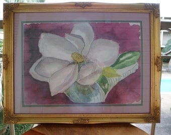 Framed Artwork/ Original Signed Watercolor Painting of a Magnolia in Bloom