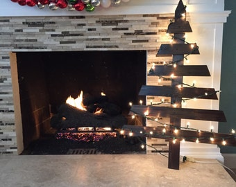 Rustic Wooden Christmas Tree with Lights