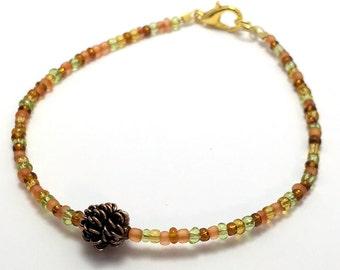 Handmade Beaded Charm Pine Cone  Handmade Women's Bracelet