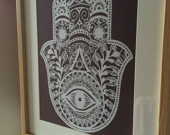 Hamsa Handmade paper cut, judaica, wall decor, home decor,