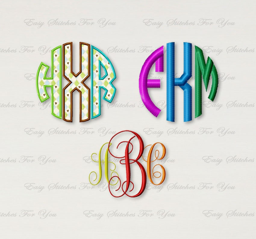 Set three embroidery designs monogram fonts vine circle