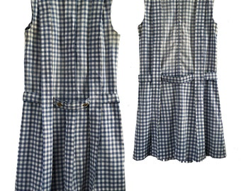 Vintage Mod Blue Gingham Pleated Shift Dress