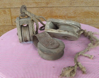 3 Vintage Wooden Barn Pulleys