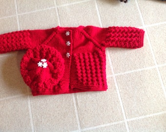 Hand knitted children's sweater and hat