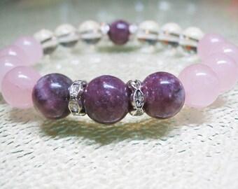 Rose Quartz Bracelet Pink Tourmaline Bracelet Clear Quartz Bracelet Pink Bracelet Healing Bracelet Heart Chakra Bracelet Gemstone Bracelet