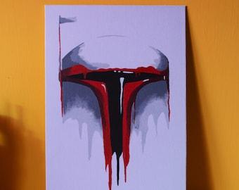 Melting Boba Fett, Star Wars inspiration, 30x20 cm